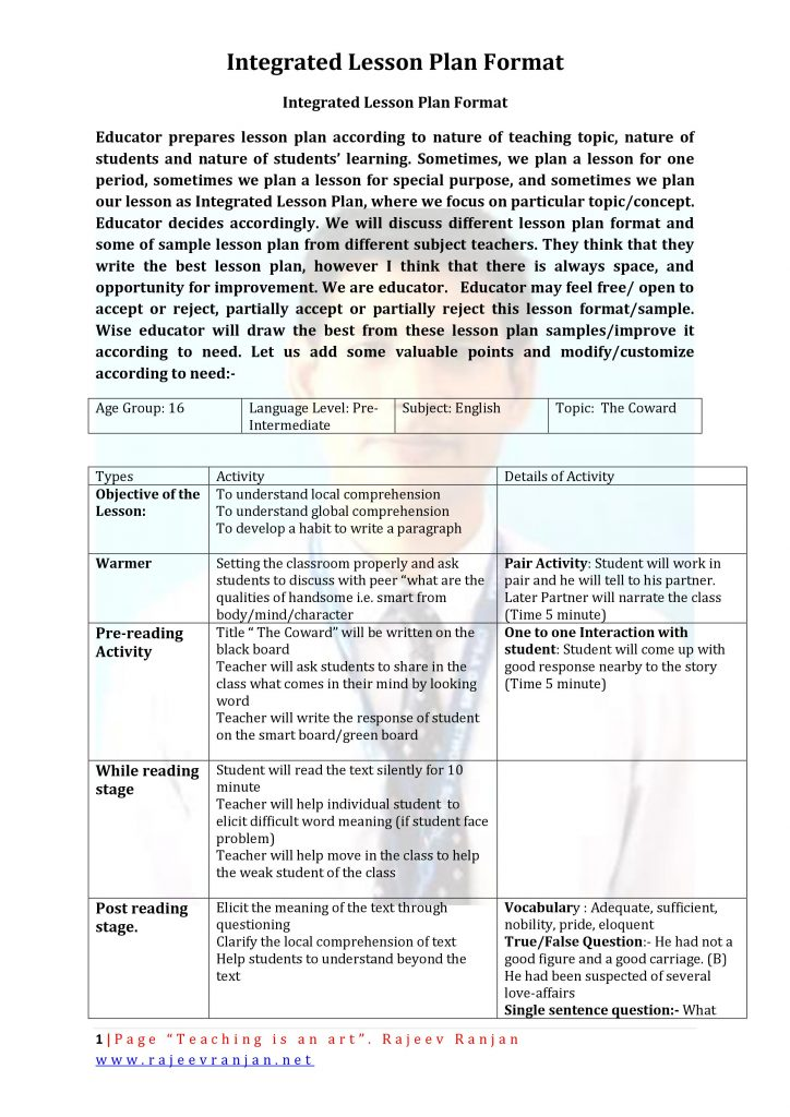 Lesson Plan Effective Lesson Planning Effective Teaching Indian
