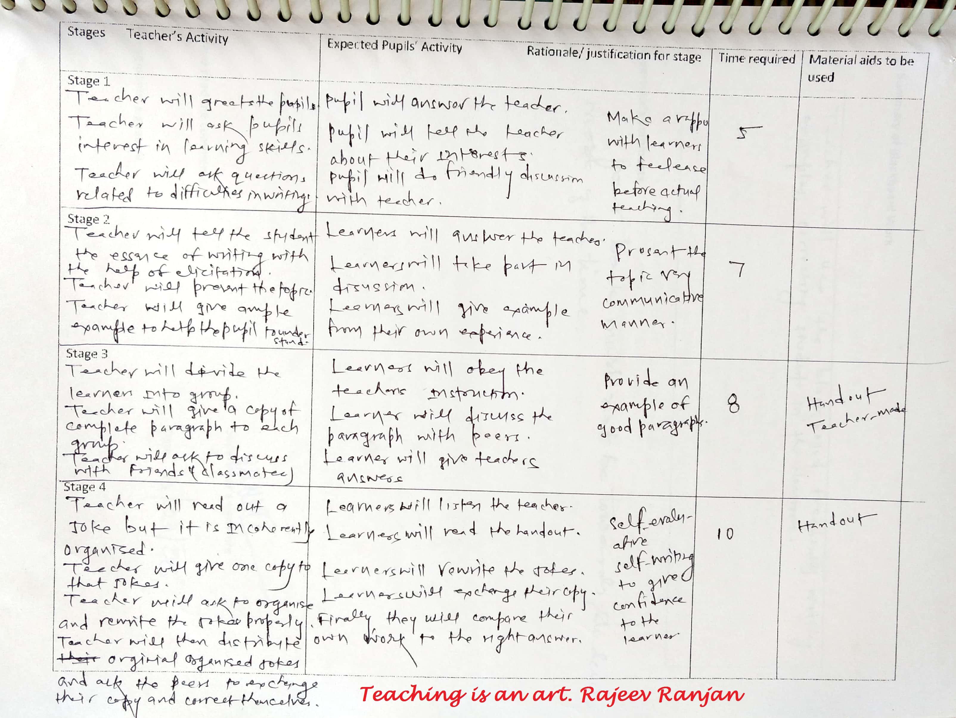 planning a lesson english language teaching developing writing skill